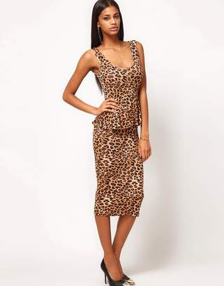 Asos Design Midi Bodycon Dress in Animal Print