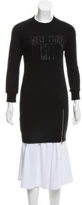 R 13 Printed Zipper-Accented Dress