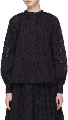Co Blouson sleeve clipped jacquard top