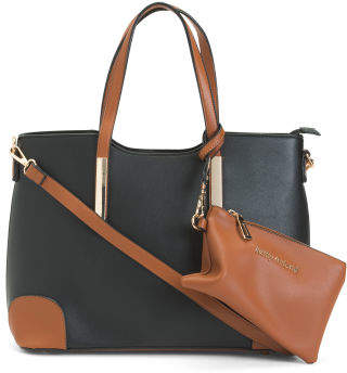 2pc Color Block Satchel With Wristlet Set