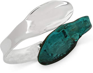 Robert Lee Morris Soho Silver-Tone Patina Sculptural Hinged Bangle Bracelet