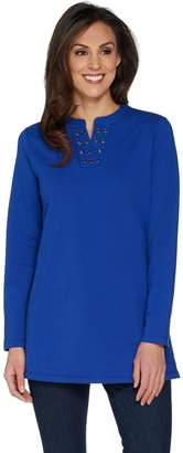 Denim & Co. Split V-Neck Long Sleeve Tunic with Grommet Detail