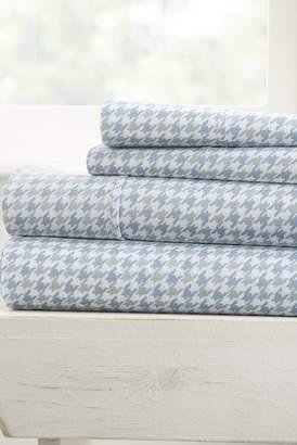 IENJOY HOME The Home Spun Ultra Soft Hounds Tooth Pattern 4-Piece Queen Bed Sheet Set - Light Blue