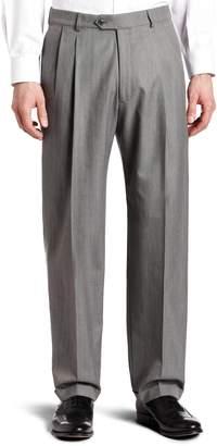 Haggar Men's Herringbone Pleat Front Cuff Suit Separate Pant,Gray,32 / 32