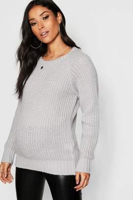 boohoo Maternity Soft Knit Crew Jumper