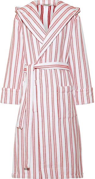 Balenciaga Balenciaga - Hooded Belted Striped Cotton Coat - Claret