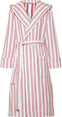 Balenciaga - Hooded Belted Striped Cotton Coat - Claret $545 thestylecure.com