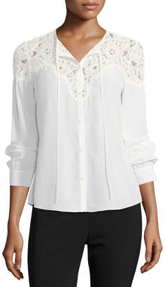 Rebecca Taylor Button-Front Silk Top with Lace Trim