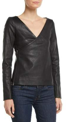 Theory Fitted Bristol Lamb Leather Side-Zip Wrap Jacket