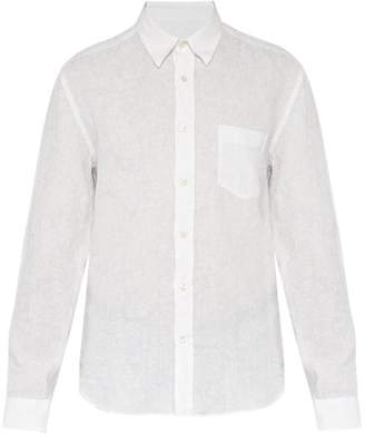 120% Lino Long Sleeve Linen Shirt - Mens - White