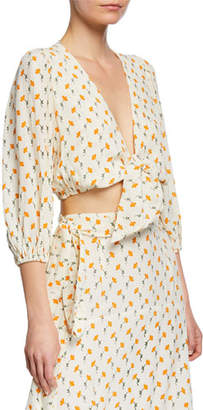 Faithfull The Brand La Guardia Floral Tie-Front Cropped Blouse