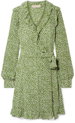 MICHAEL Michael Kors Ruffled Printed Washed-silk Wrap Mini Dress - Light green