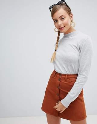 Monki lightweight high neck sweater in gray
