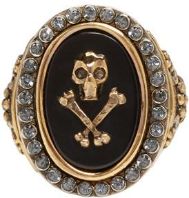Alexander McQueen Black Mini Skull Ring $445 thestylecure.com