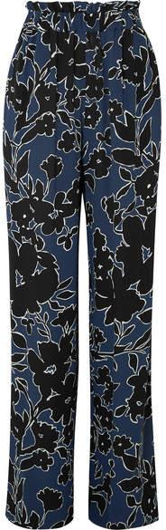 Michael Kors Collection - Floral-print Silk-georgette Wide-leg Pants - Blue