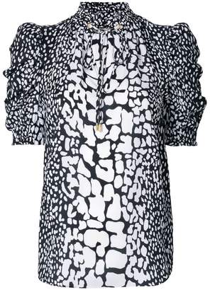 MICHAEL Michael Kors patterned ruched sleeve blouse