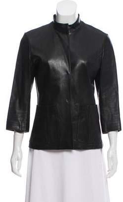 Narciso Rodriguez Leather Snap-Up Jacket