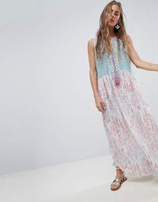 Aratta Smock Dress With Crochet Top And Embelishment In Paisley