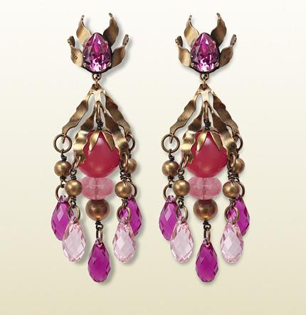 Gucci Earrings With Fuchsia Pendants