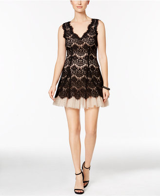 Betsy & Adam Lace-Overlay Tulle A-Line Dress $229 thestylecure.com