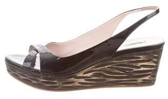 Miu Miu Slingback Patent Leather Wedges