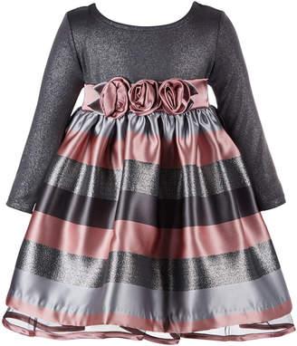 Bonnie Baby Baby Girls Floral-Trim Striped Dress