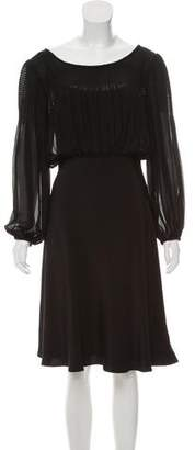 Temperley London Silk Long Sleeve Midi Dress