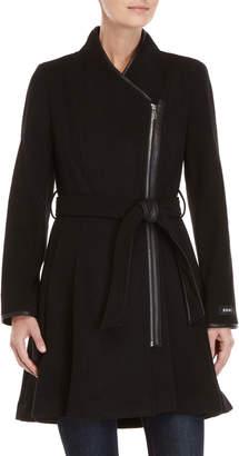 DKNY Wool-Blend Belted Asymmetric Coat