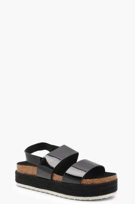 boohoo Espadrille 2 Strap Flatform Sandals