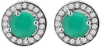 Sabrina Silver 14K White Gold Natural Emerald Earrings with Diamond Halo Round 5 mm