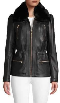 Faux Fur-Trim Leather Jacket