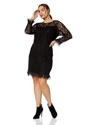 Calvin Klein Women's Plus Size Long Sleeve Sheath with Feather Trim