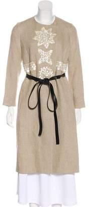Altuzarra Mother of Pearl-Embellished Linen Coat