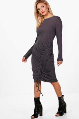 boohoo Megan Long Sleeve Rouched Front Midi Dress