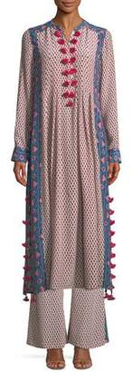 Figue Rumi Long-Sleeve Floral-Print Silk Crepe de Chine Maxi Dress