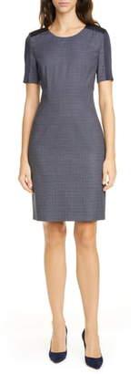 BOSS Dirusa Crosshatch Virgin Wool Short Sleeve Dress
