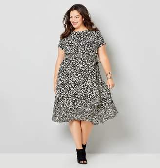 Avenue Animal Print Chiffon Ruffle Trim Dress