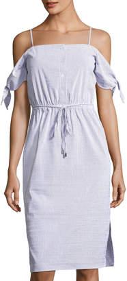 Julia Jordan Tie-Sleeve Off-the-Shoulder Striped Dress