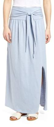 Caslon Tie Front Cotton Maxi Skirt (Regular & Petite)
