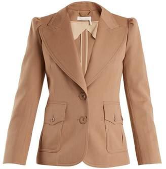 Chloé Peak Lapel Single Breasted Wool Blend Jacket - Womens - Beige