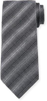 Giorgio Armani Diagonal Stripes Silk/Wool Tie, Magnet Gray