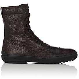 Tod's MEN'S WRINKLED LEATHER LACE-UP BOOTS - DK. BROWN SIZE 6.5 M