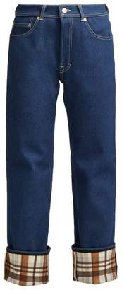 Acne Studios Checked Cuff Straight Leg Jeans - Womens - Blue Multi