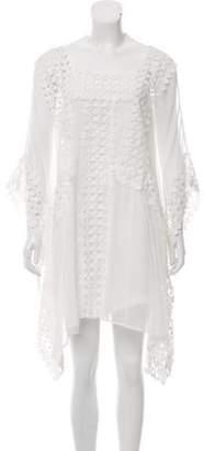 Edward Achour Sheer Shift Dress White Sheer Shift Dress
