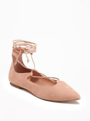 Sueded Ghillie Lace-Up Flats for Women $29.94 thestylecure.com