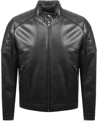 HUGO BOSS Getani Leather Biker Jacket Black