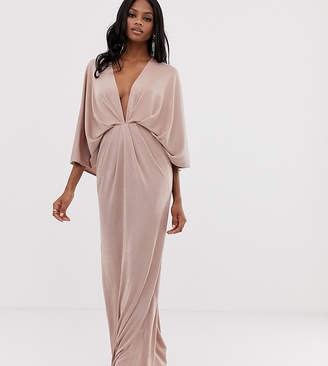 Asos Design DESIGN backless kimono plunge maxi dress