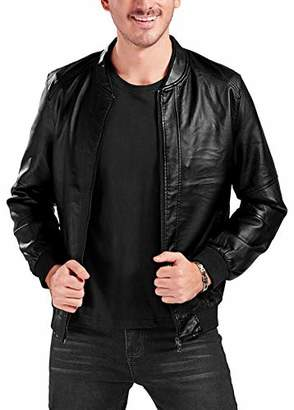 Trimthread Men's Essential Band Collar Zip Up Faux Leather Bomber Jacket (