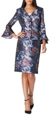 Tahari Arthur S. Levine Jacquard Printed Tulip-Sleeve Jacket and Skirt Suit