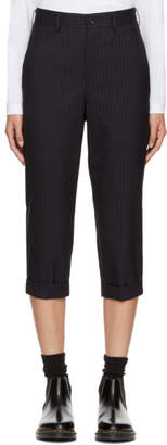 Comme des Garcons Navy Pinstripe Cuffed Cropped Trousers